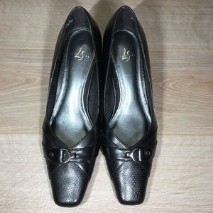Life Stride - Black Heels w/ Buckle Embellishments